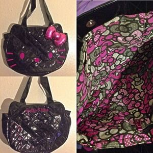 Hello Kitty Handbags - Black Quilted Hello Kitty Purse