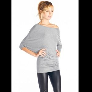 NEW Sexy Grey Jersey Knit Tunic Blouse💋