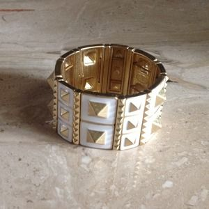 Spiked White & Gold Cuff Bracelet