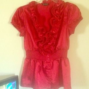 A. BYER Tops - Red ruffle silk shirt