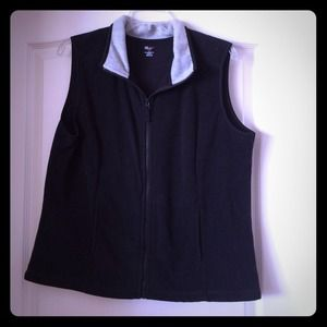 Fleece black with gray collar zips in front vest