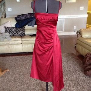 Karen Millen designer red satin dress