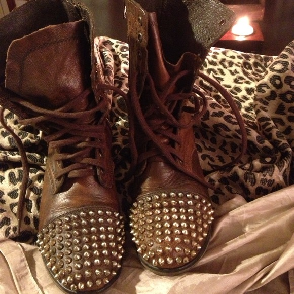 4bb768fd06e Brown Studded Combat Boots   Fashion Boots