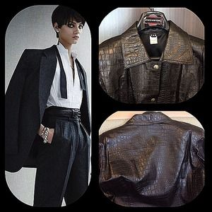 X & R Jackets & Blazers - Croc embossed black leather jacket