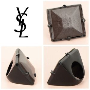 Yves Saint Laurent Jewelry - 🎉HOST PICK 10/22🎉 YSL Brown Leather Diamond Ring