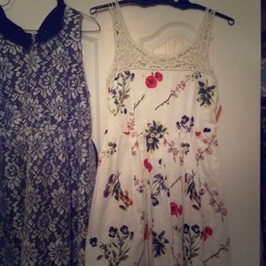 BB Dakota floral white dress with lace neckline.