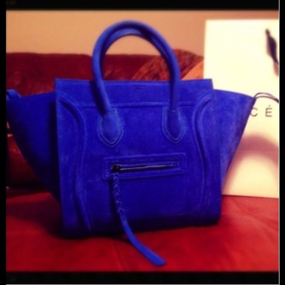 65% off Celine Handbags - CELINE PHANTOM IN ELECTRIC BLUE SUEDE ...
