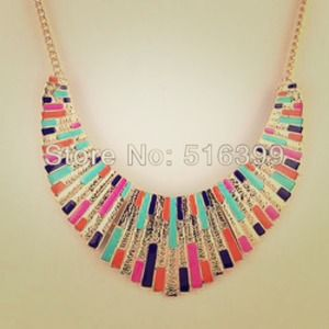 Colorful Enamel Bib Collar Statement Necklace