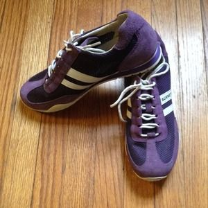 Purple suede tennis shoes