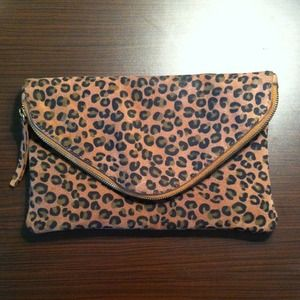 J. Crew Invitation Clutch Leopard Print