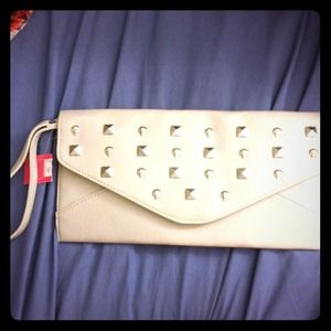GIFTED! NWT envelope clutch with skulls and studs