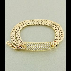 Gorgeous gold link bracelet or necklace pave diamd