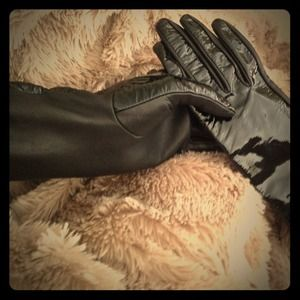 Long Black Patent/leather gloves BCBG