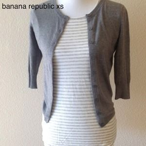 Banana Republic Tops - soft gray&white stripe tee Xs/S Banana Republic