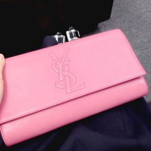 Large Yves saint Laurent ysl pink leather clutch
