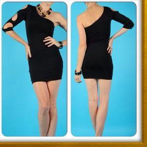 Black one sleeve dress