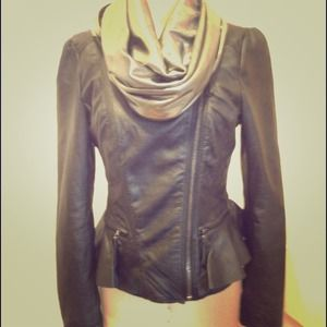 ZARA Black Leather Peplum Jacket