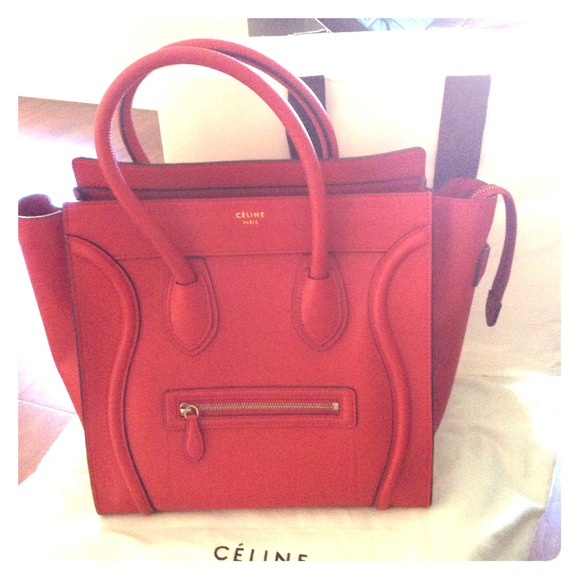 c008b158f8e **SOLD**Mint! Auth red Celine mini luggage bag GHW NWT