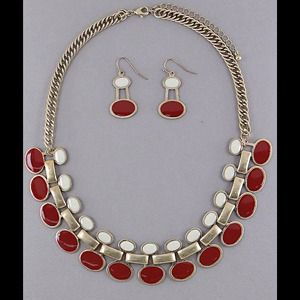 Jewelry - Necklace and earrings with red white epoxy on ygbm