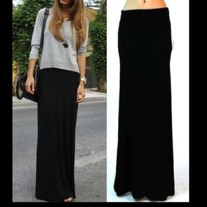 NEW Black Fold Over Waist Maxi Skirt🎀