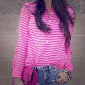 J. Crew Tops - Jcrew pink stripe woven blouse