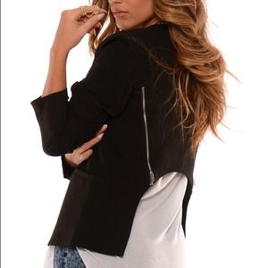 High low black blazer