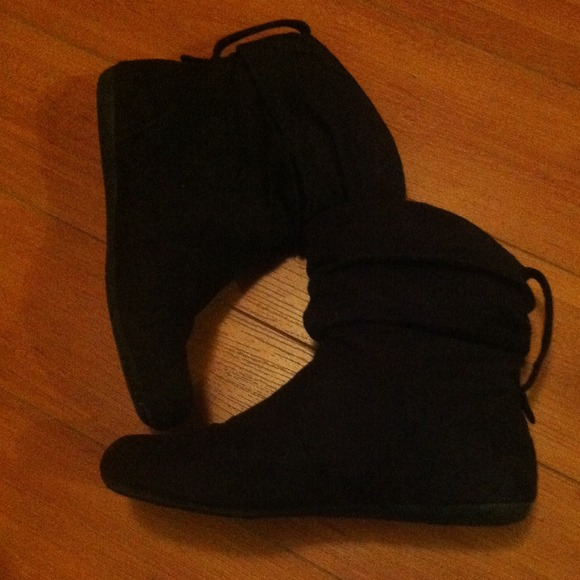 67% off Lower East Side Boots - Suede black slouch ankle boots ...