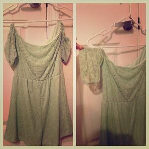 Mint green lace romper!