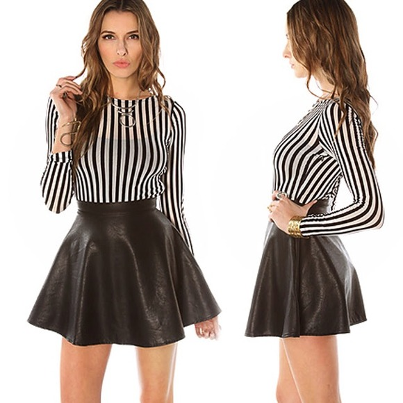 44% off xoxo Dresses & Skirts - REDUCED Black Faux Leather Circle ...