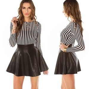 REDUCED Black Faux Leather Circle Skirt