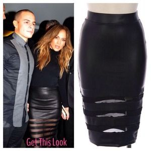 Dresses & Skirts - 🎉LAST ONE🎉Faux Leather Skirt With Mesh Inset