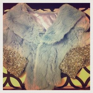100% real rabbit fur cape with embellished trim