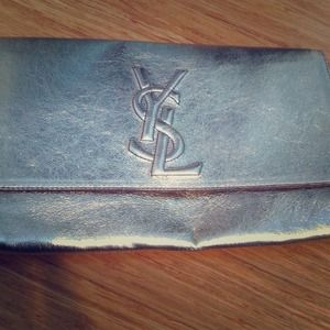 100% Authentic gold leather YSL clutch