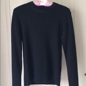 SALE Vintage black lambs wool blend beaded sweater