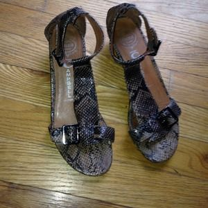 Jeffery Campbell snake skin silver sandals