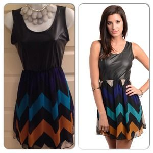 Dresses & Skirts - Black Teal Chevron Dress ***SALE***