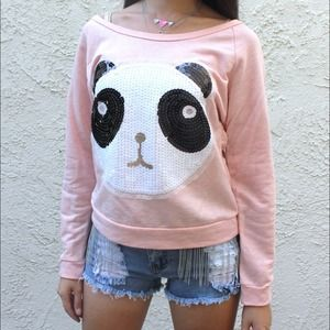 Panda bear front embellished top