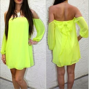 Chiffon bow back off shoulders mini dress