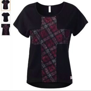 Tops - Black & Red Plaid Cross Top