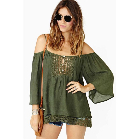 b474eb20011125 RESERVED Open Road Cold Shoulder Crochet Top-Olive