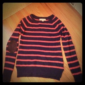 Striped coral and navy sweater