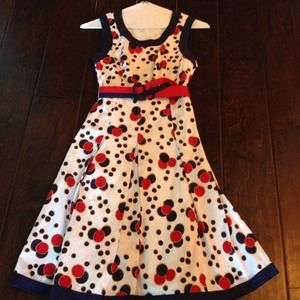 UK brand Ruby Belle red, blue and white dots dress