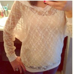 ASOS TFNC London rose lace long sleeve blouse