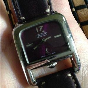 Purple leather Coach wrist watch