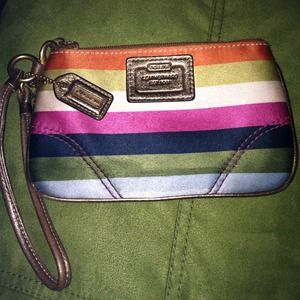 Striped Legacy Coach wristlet w/ gold leather