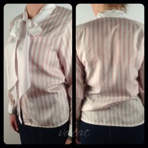 Vintage Pink/White Bow Tie Blouse