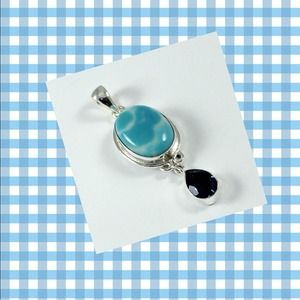 Jewelry - Larimar (syn) .925 sterling silver pendant