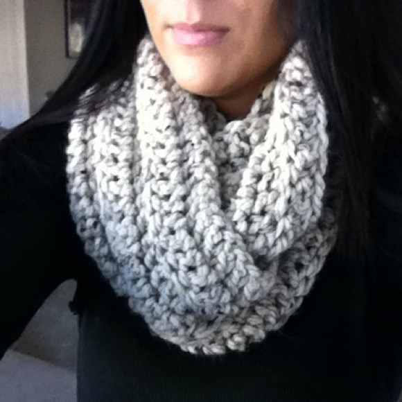 Oatmeal colored infinity scarf