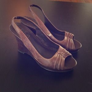 Shoes - Brown leather wedge heels