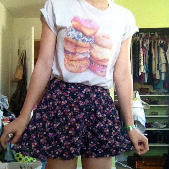 52% off Dresses & Skirts - Flowy floral skirt / oversized shorts ...
